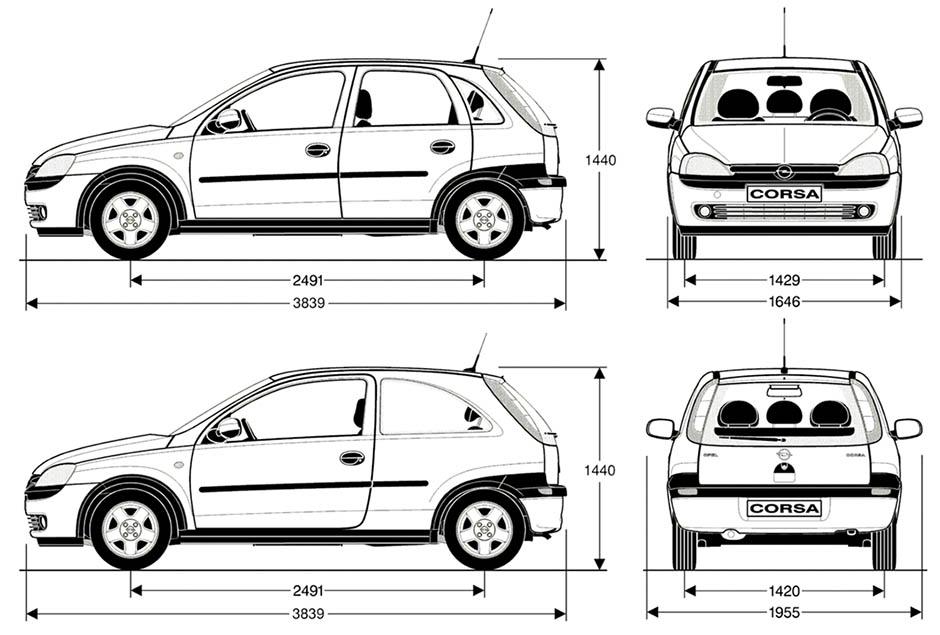 Opel Corsa C méretek