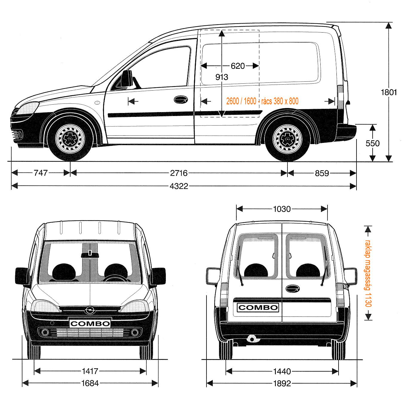 Opel Combo méretek